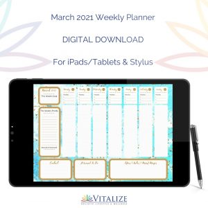 March 2021 Weekly Planner – DIGITAL DOWNLOAD (For iPads/Tablets & Stylus)